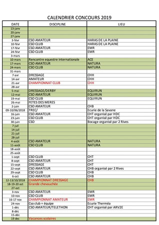 Concours Calendrier.Comite Regional D Equitation Calendrier